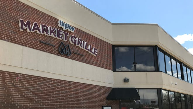 The Market Grille restaurant signage outside the Hy-Vee grocery store at 3000 S. Minnesota Ave. in Sioux Falls, April 25.