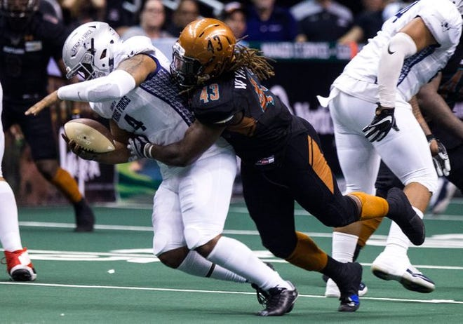 Ricky Wyatt (43) leads the Arizona Rattlers with five sacks on the season