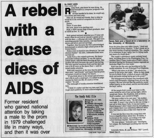 A front-page article from the Jan. 23, 1994 Argus Leader about the life of Randy Rohl.