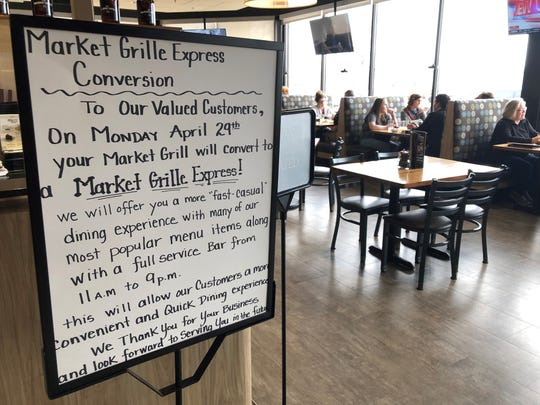 The full-service Market Grille restaurants in the Hy-Vee stores at Sycamore Avenue, South Minnesota Avenue will be converted into Market Grille Express self-service locations