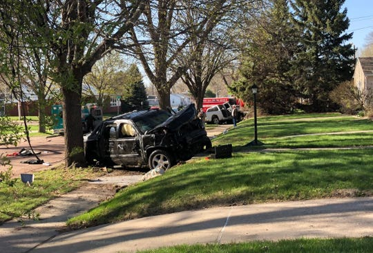 A vehicle that was involved in a crash at 26th Street and West Avenue is shown on Friday, April 26.