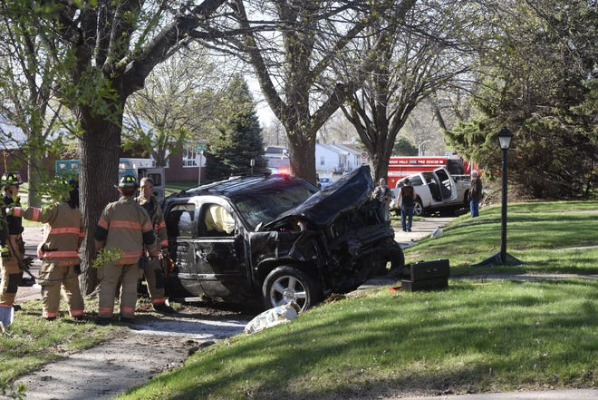 One of the vehicles involved in a serious hit-and-run crash at the intersection of 26th Street and West Avenue in Sioux Falls on Friday, April 26, 2019.