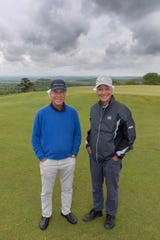 Ben Crenshaw, left, and Bill Coore, right, at Ozarks National Golf Course during Legends of Golf 2019.