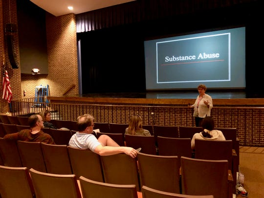 Staff from the Office on Youth gave an anti-drug presentation at Robert E. Lee High School April 25, 2019.