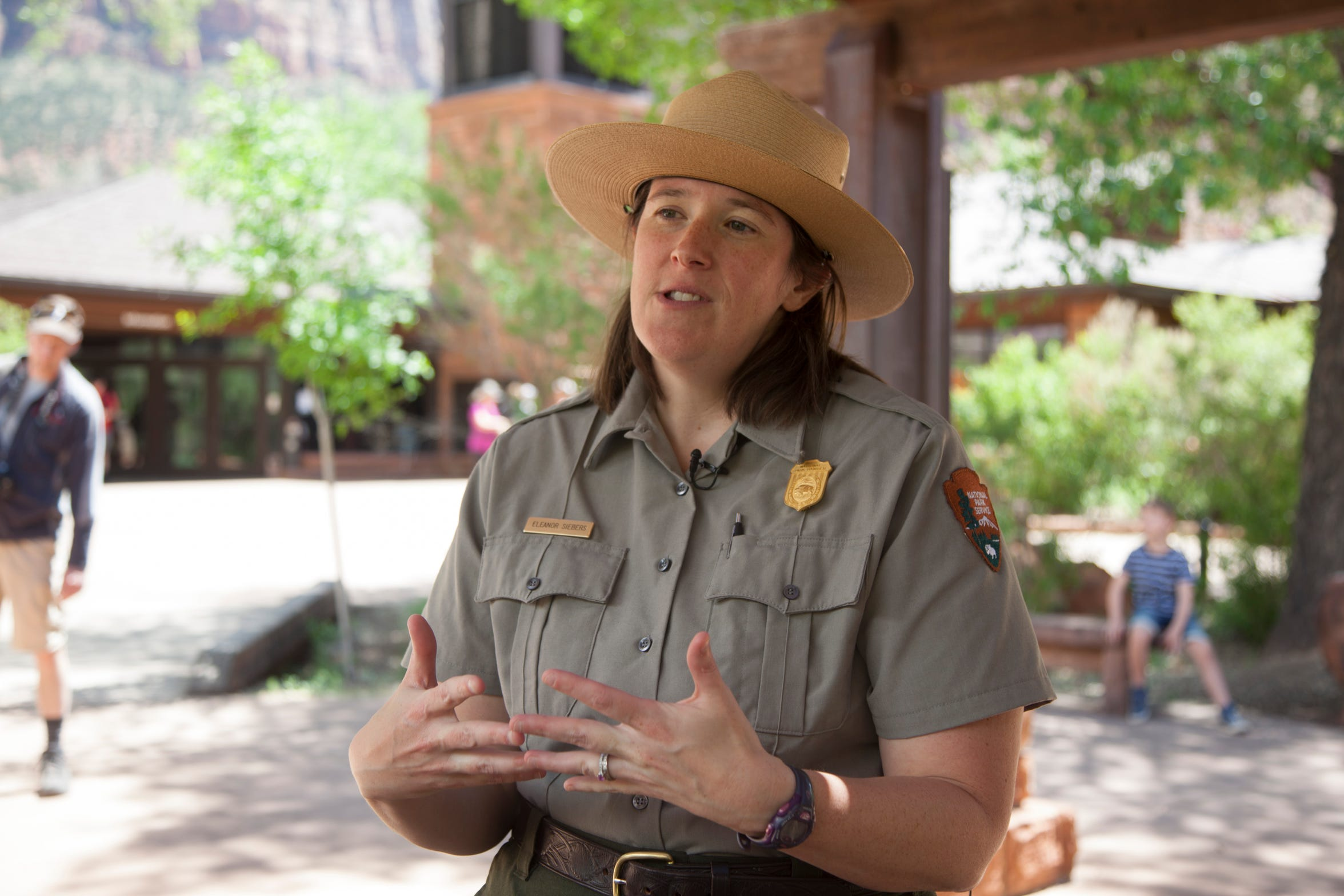 Eleanor Siebers discusses the seasonal influx of visitors to Zion National Park and the role of rangers in enhancing the visitor experience Thursday, April 25, 2019.