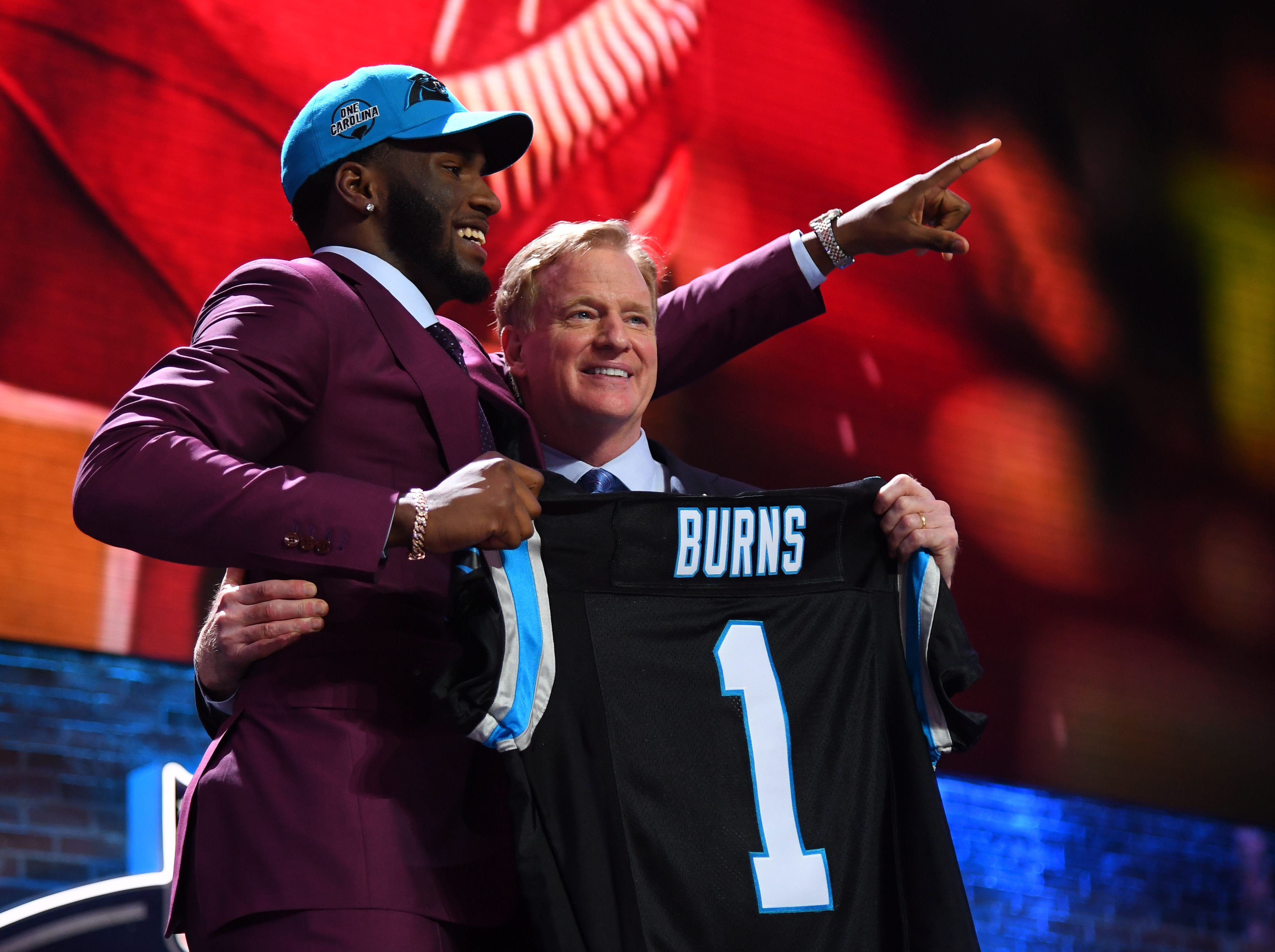 Apr 25, 2019; Nashville, TN, USA; Brian Burns (Florida State) stands with NFL commissioner Roger Goodell after he was selected as the number sixteen overall pick to the Carolina Panthers in the first round of the 2019 NFL Draft in Downtown Nashville. Mandatory Credit: Christopher Hanewinckel-USA TODAY Sports