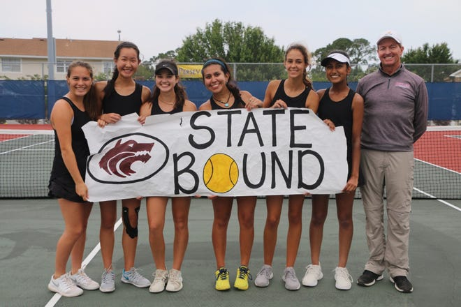 Chiles' girls tennis team advanced to the state tournament for the fourth straight season with a 4-2 victory at Gulf Breeze. From left: Savanna Phelps, Amy Xia, Gracie Wilson, Sofia Guerrero, Harli Neshat, Rasee Bhoola, assistant coach Allen Long