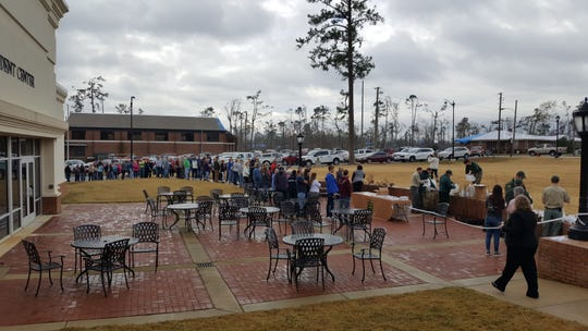 Dozens line up to receive tree saplings at Chipola College in Marianna for a post-Michael reforestation initiative.