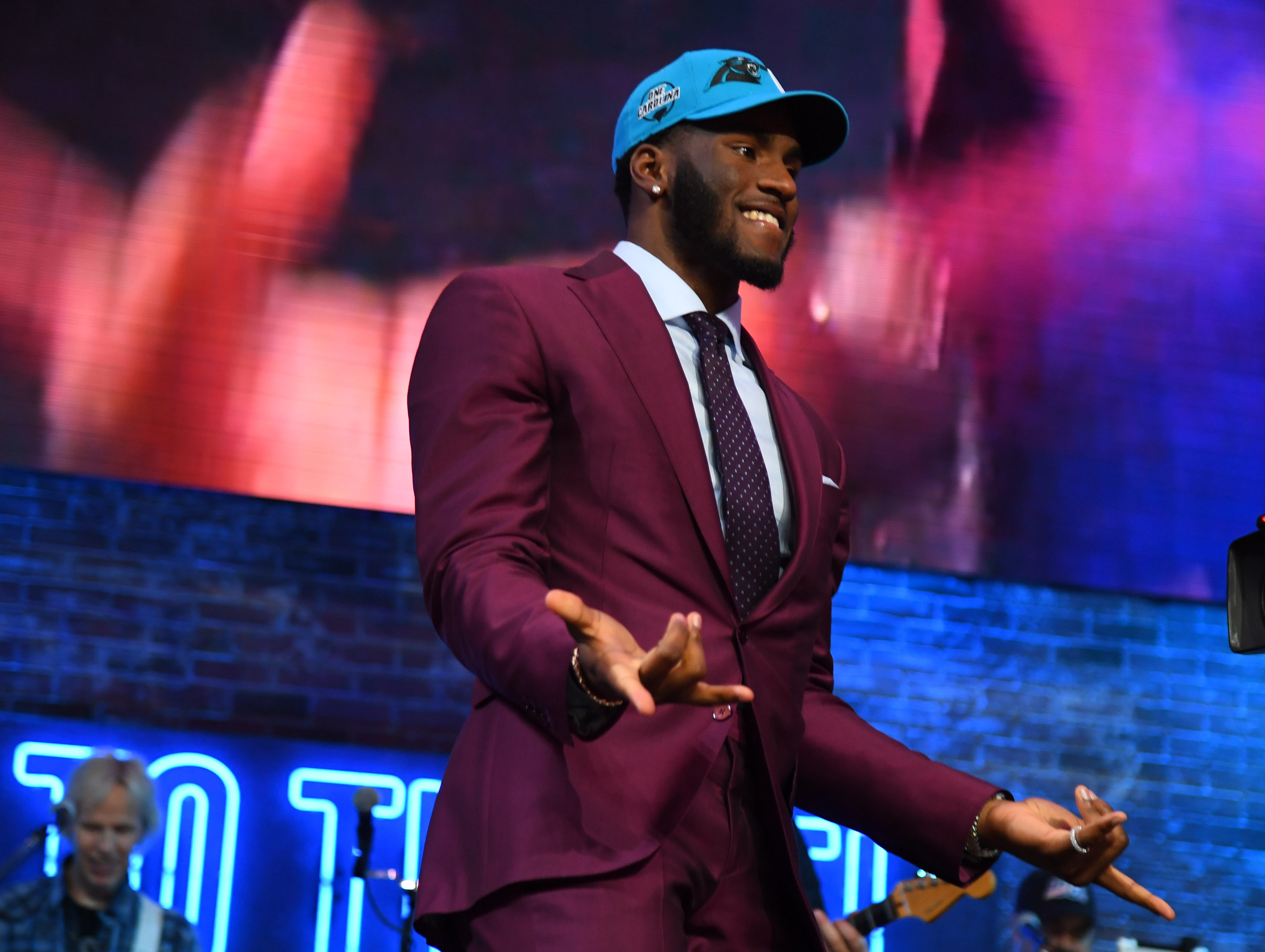 Apr 25, 2019; Nashville, TN, USA; Brian Burns (Florida State) is selected as the number sixteen overall pick to the Carolina Panthers in the first round of the 2019 NFL Draft in Downtown Nashville. Mandatory Credit: Christopher Hanewinckel-USA TODAY Sports