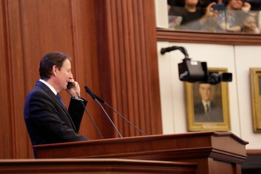 Senate President Bill Galvano makes a phone call while the body is in its second last week of session Thursday, April 25, 2019.