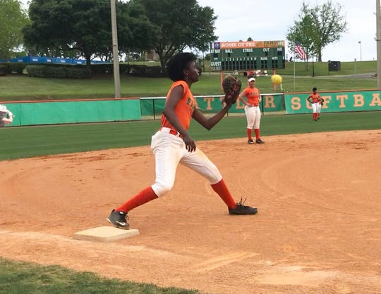 FAMU infielder Hera Varmah works on defensive drills during practice. The Rattlers enter the MEAC Softball Championship as a No. 2 seed and play No. 3 seed Delaware State on Wednesday, May 8 at the Ormond Beach Sports Complex.