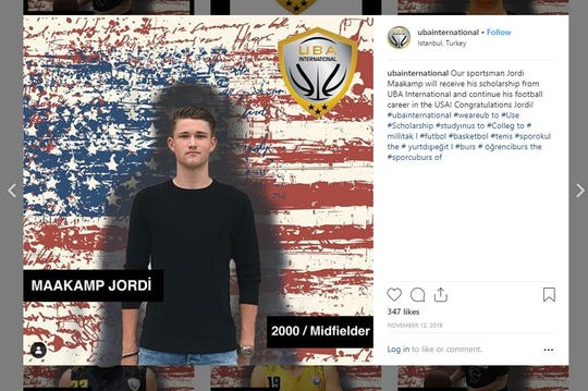 UBA International's Instagram post of Jordi Maatkamp