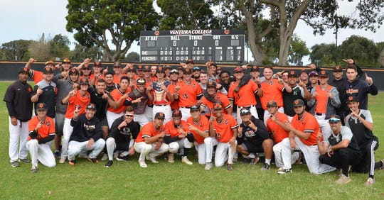 The Ventura College baseball team celebrates the program's first WSC North championship since 2006 on Thursday.