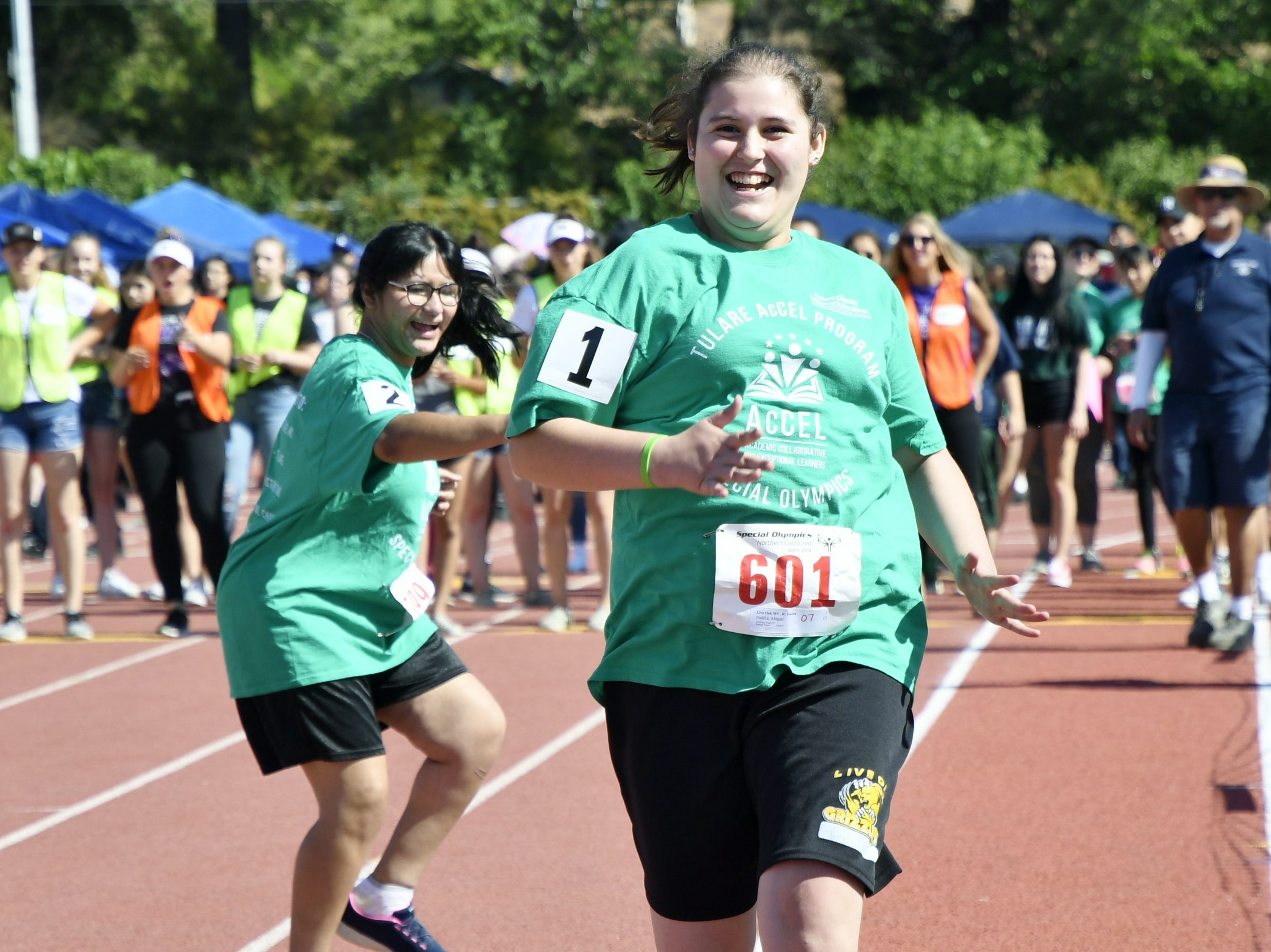 Abigail Padilla of Live Oak Middle School competes at the 2019 Tulare County Special Olympics at Bob Mathias Stadium on Friday, April 26, 2019.