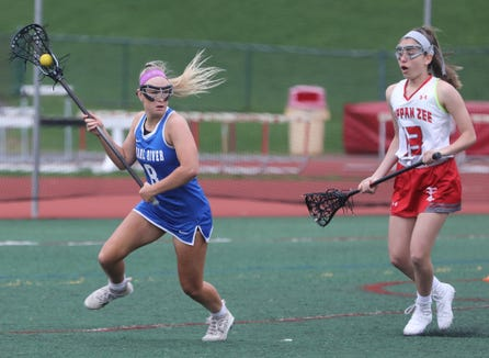 Pearl River's Lauren Sullivan during game action of girls lacrosse game against Tappan Zee at Tappan Zee High School in Orangeburg April 25, 2019. Sullivan weighed 20 ounces at birth and wasn't expected to survive, but next year she will play college lacrosse for Oneonta.