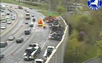 The scene of a tractor-trailer fire on westbound Interstate 287 near Exit 7 for North White Plains, Friday, April 26, 2019, as seen in a traffic camera image. The early morning fire backed up traffic for hours.