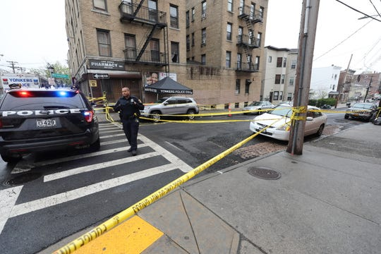 Yonkers police set up crime scene on Lake Avenue as officers investigate the April 25, 2019, fatal shooting of 18-year-old Marilyn Cotto Montanez, a junior at Yonkers' Lincoln High School. Police believe the woman was an innocent bystander.