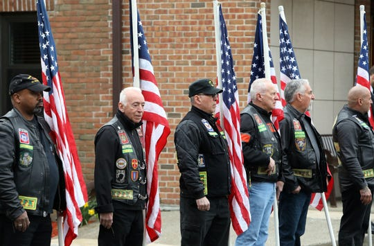 Veterans attend the funeral of World War II veteran Bob Graham at St. Elizabeth Ann Seton Church in Shrub Oak April 26, 2019. With no close relatives, Beth Regan, 27, who befriended Graham while volunteering at the nursing home he lived, got the word out to have his funeral well attended. Several hundred people, including veterans, police officers, firefighters, attended the military honors funeral.