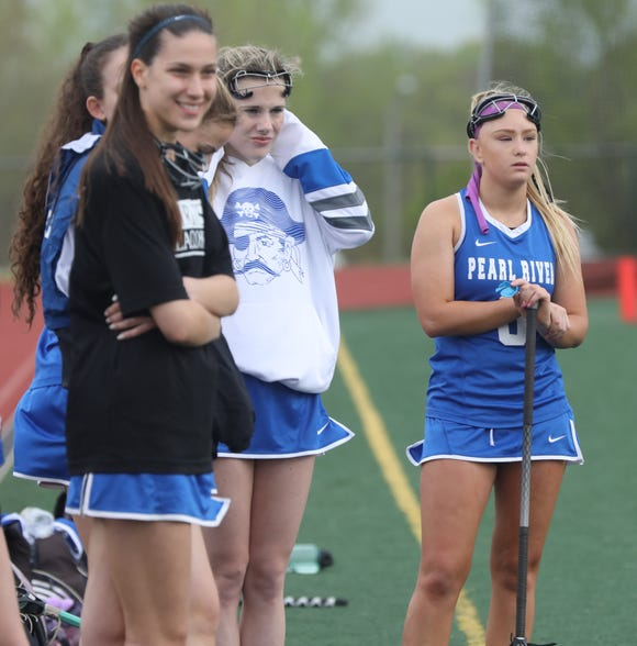 Pearl River's Lauren Sullivan watches her teammates from the sidelines during girls lacrosse game against Tappan Zee at Tappan Zee High School in Orangeburg April 25, 2019. Sullivan weighed 20 ounces at birth and wasn't expected to survive, but next year she will play college lacrosse for Oneonta.