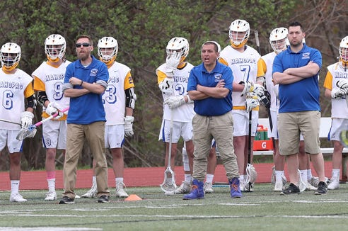 Mahopac has decided to part ways with varsity boys lacrosse coach Joe Bucello (center) after two seasons. His teams compiled a 23-14 record and made consecutive semifinal appearances in the Section 1 Class A tournament.