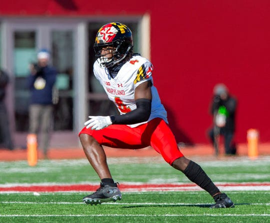 Maryland defensive back Darnell Savage Jr. (4) during the first half of an NCAA college football game Saturday, Nov. 10, 2018, in Bloomington, Ind. Indiana won 34-32. (AP Photo/Doug McSchooler)