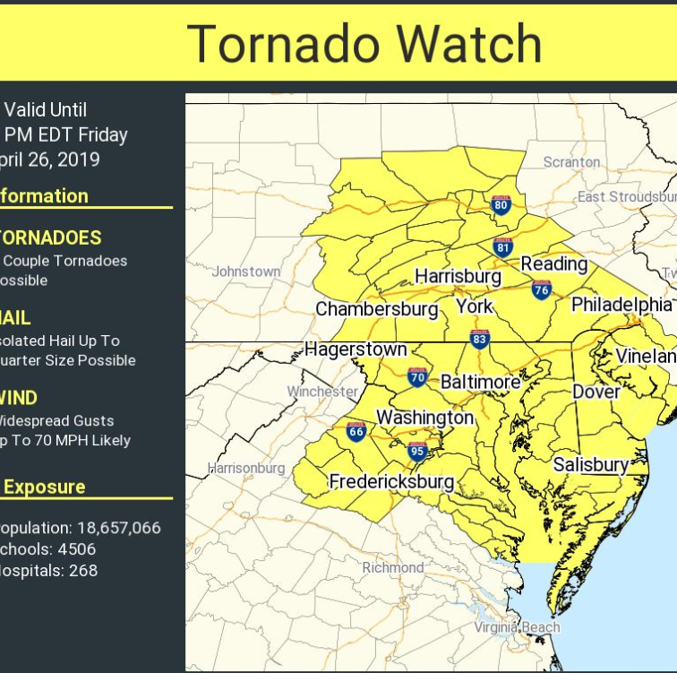 National Weather Service's tornado watch for Delaware expires