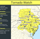 A tornado watch has been issued for Delaware and parts of Maryland, Washington D.C., New Jersey, Pennsylvania and Virginia until 9 p.m. Friday.