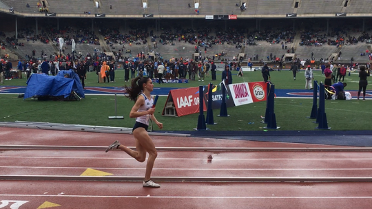 Lydia Olivere runs for Villanova Friday at the Penn Relays.