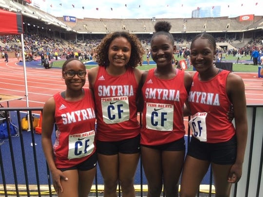 Smyrna's 4-x-100-meter relay team of Saani Edwards, Shaneese La Mons, Aniyah Black and Sierra Romaine placed fourth in the Northeast championship race at the Penn Relays in school-record time.
