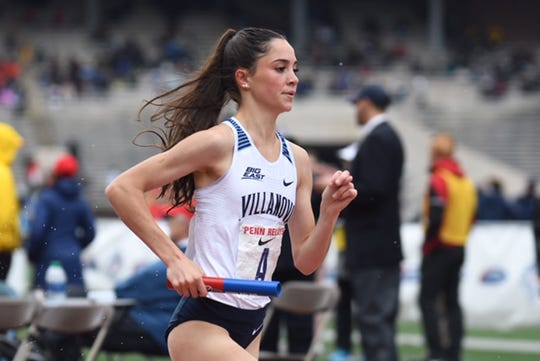 Lydia Olivere runs Villanova's first leg in the 4 x 1,500-meter relay Friday at the Penn Relays.