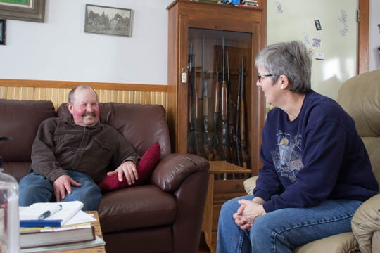 Jackson County Farm Bureau members Steve and Pat Kling relax at home after Steve's life-saving lung transplant surgery. Steve serves as president of the Jackson County Farm Bureau.