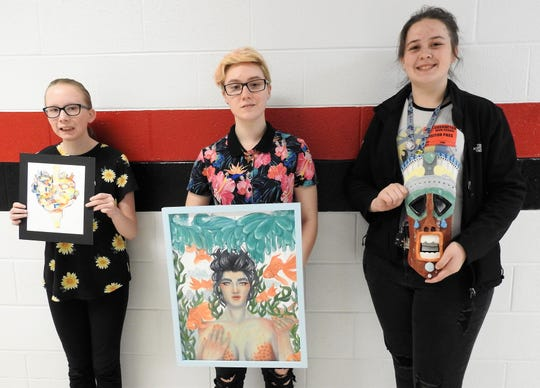Winners of the Teen-Age Talent art show of high school students at the Johnson-Humrickhouse Museum were recently announced. Bella Miller of Coshocton High School placed second in graphic art composition. Jaidyn Brink of CHS was first and second in 2-D composition and Adrianna Flores of Ridgewood High School was first in 3-D composition.