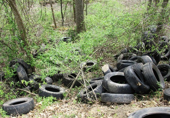 About 75 tires were found off of Monroe Township Road 130 recently with another 150 to 200 tires found at another site nearby by Litter Office Kevin Cichon of the Coshocton County Sheriff's Office.