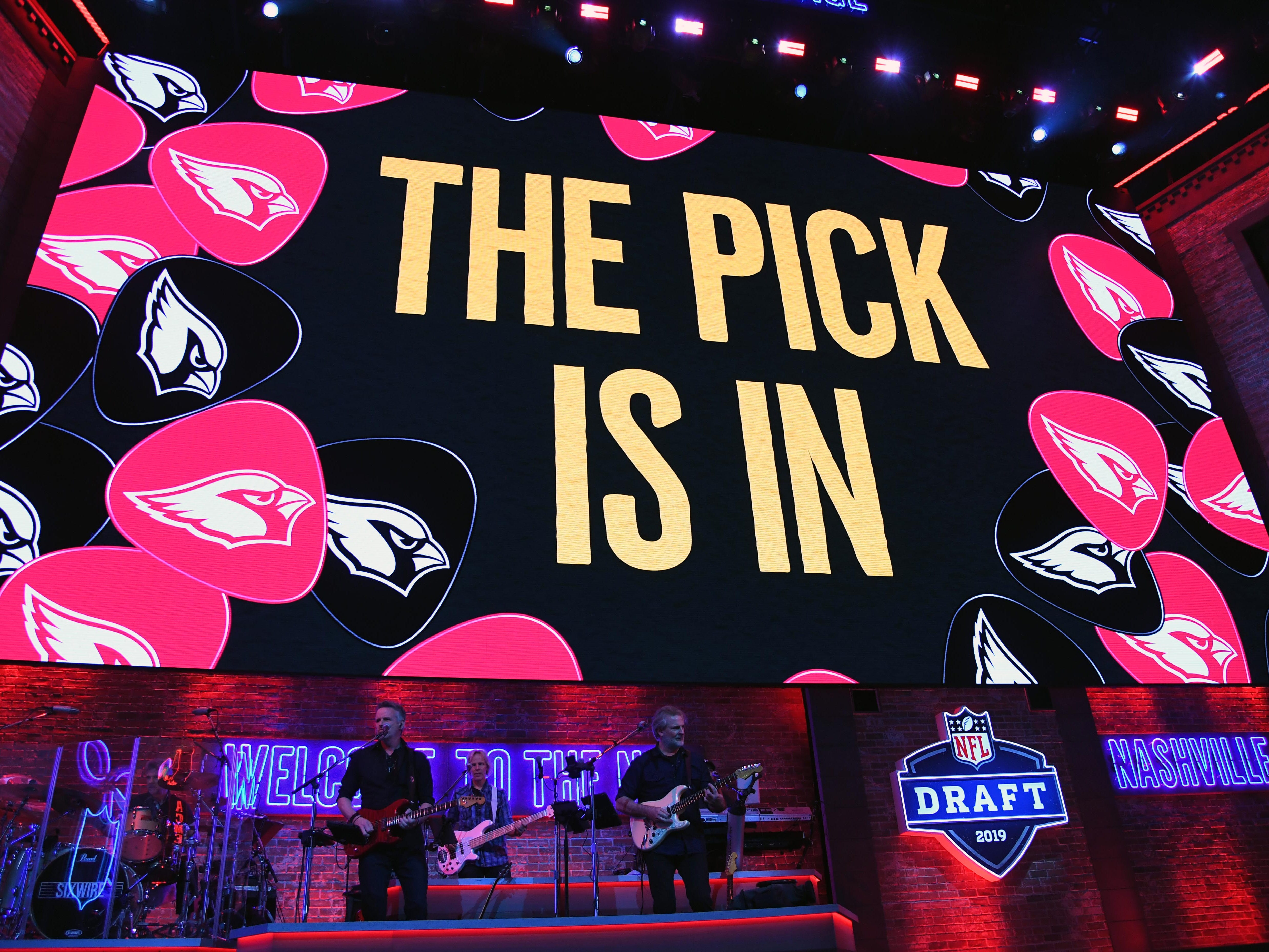 """""""The Pick Is In"""" graphic appears during the first round of the 2019 NFL draft."""