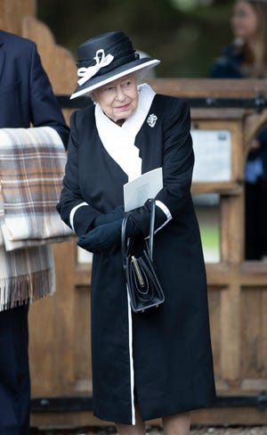 Queen Elizabeth II in Highclere, UK on April, 25, 2019 to attend funeral services for Jeanie, Countess of Carnarvon.