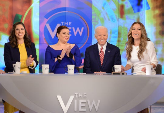 "Joe Biden appears on ABC's ""The View"" on Friday with hosts Abby Huntsman, Ana Navarro and Sunny Hostin."