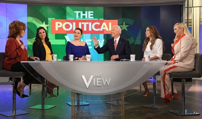 """""""I'm always crying around you, Joe!"""" """"View"""" host Meghan McCain, right, told her father's longtime friend and U.S. Senate colleague, Joe Biden, during his visit Friday. It was  his first TV interview since declaring his run for the White House."""