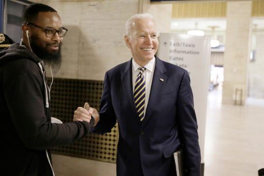 Joe Biden greets Amtrak employees in Philadelphia on April 25, 2019.