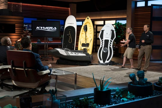 "Jason Woods, a former ""Shark Tank"" entrepreneur from Pleasantville, California, who was shredded by the Sharks during his first visit, returns to the Tank for his shot at redemption with his line of all-electric water sports equipment.  Adam Majewski is at right."