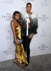 Elisa Johnson with her brother, EJ Johnson, at Rihanna's Diamond Ball in 2017.