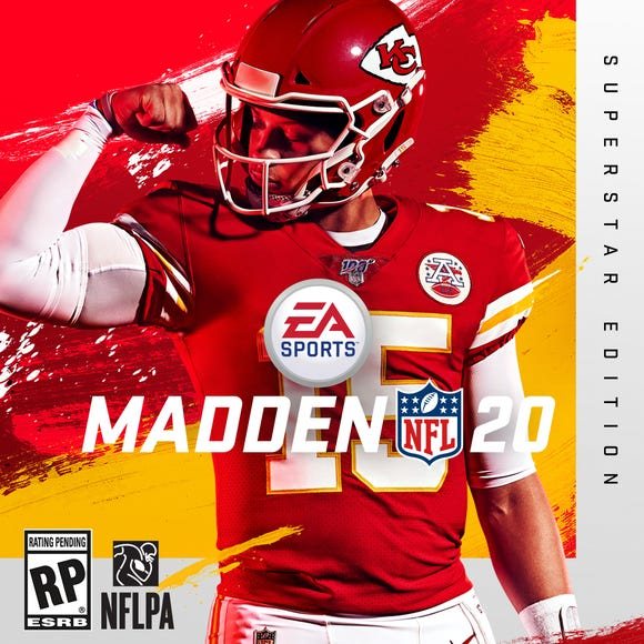 """Kansas City Chiefs quarterback Patrick Mahomes is the cover athlete for the """"Madden NFL 20"""" video game."""