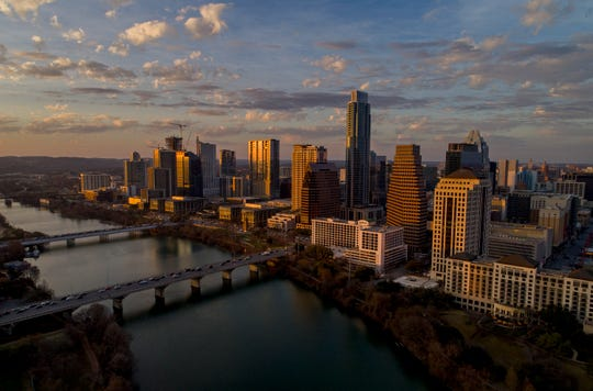 This photo shows the skyline in Austin, Texas. Amazon on Thursday, March 28, 2019, announced expansion of its Austin tech hub. A company statement says the new jobs will include software and hardware engineering, research science and cloud computing.
