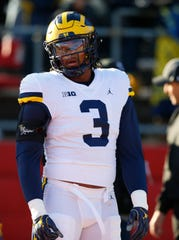 Michigan Wolverines defensive lineman Rashan Gary (3) during warm up before game against Rutgers Scarlet Knights at High Point Solutions Stadium.