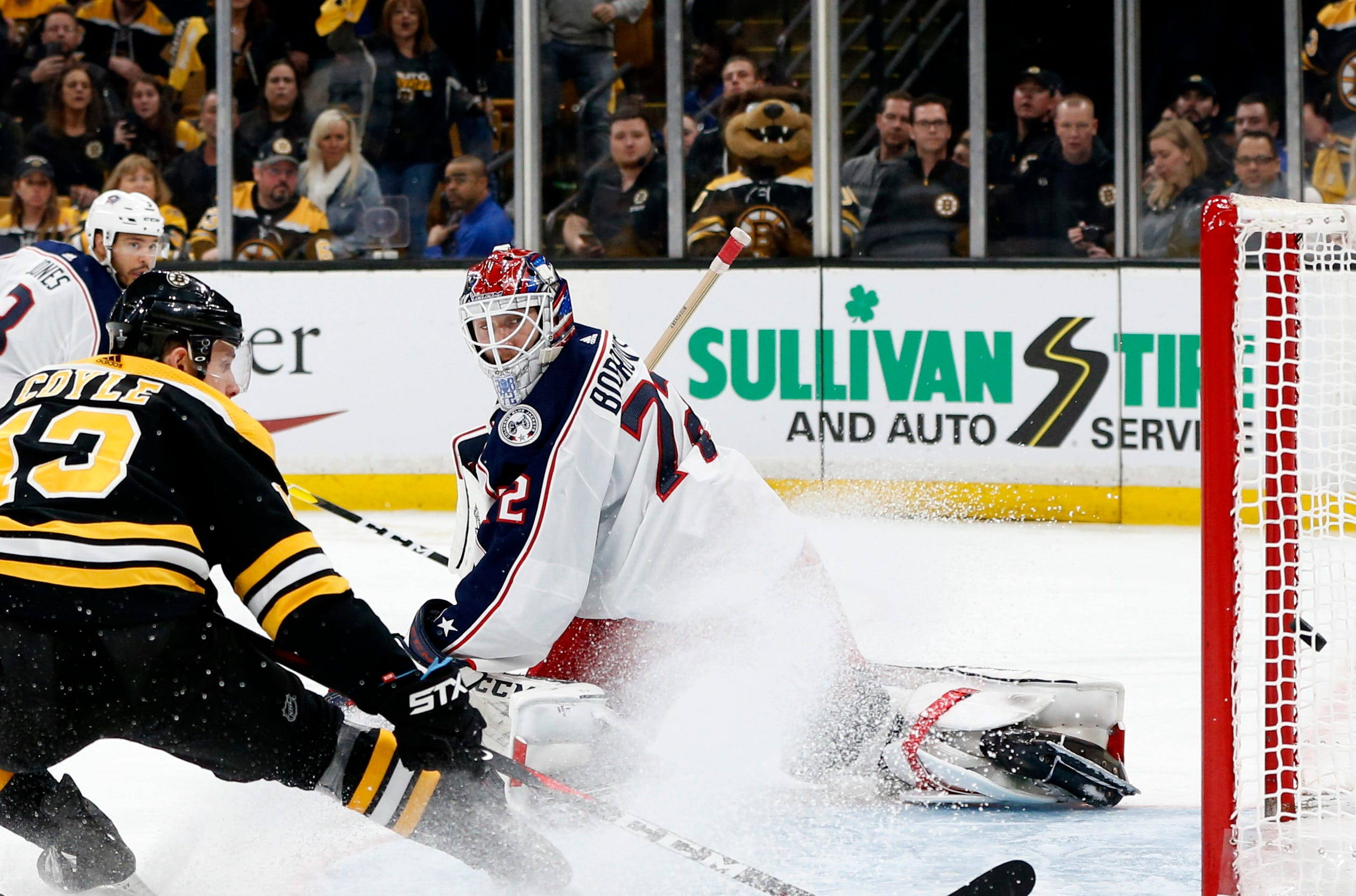 Second round: Bruins center Charlie Coyle scores past Blue Jackets goaltender Sergei Bobrovsky in overtime for a 3-2 win in Game 1.
