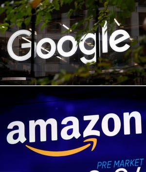 This combo of photo shows the Google logo at their offices in Granary Square, London on Nov. 1, 2018, top, and the Amazon logo on a screen at the Nasdaq MarketSite in New York's Times Square.