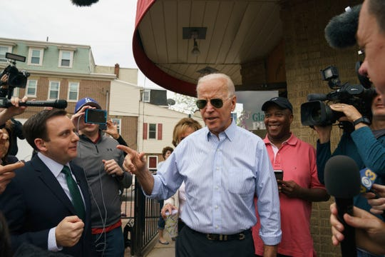 """Democratic presidential candidate and former Vice President Joe Biden speaks outside of Gianni's Pizza, in Wilmington Del., Thursday, April 25, 2019. Biden appeared on ABC's """"The View"""" Friday to talk about his 2020 White House run."""