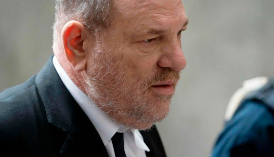 Harvey Weinstein arrives at court on April 26, 2019 in New York, for a pre-trial hearing over sexual assault charges against him.