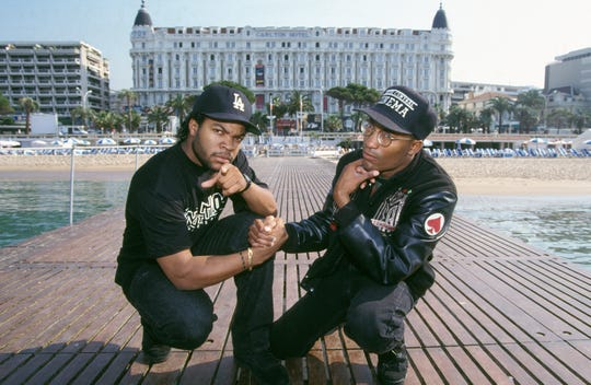"Ice Cube and John Singleton promote ""Boyz N the Hood"" in 1991 at Cannes Film Festival in France."