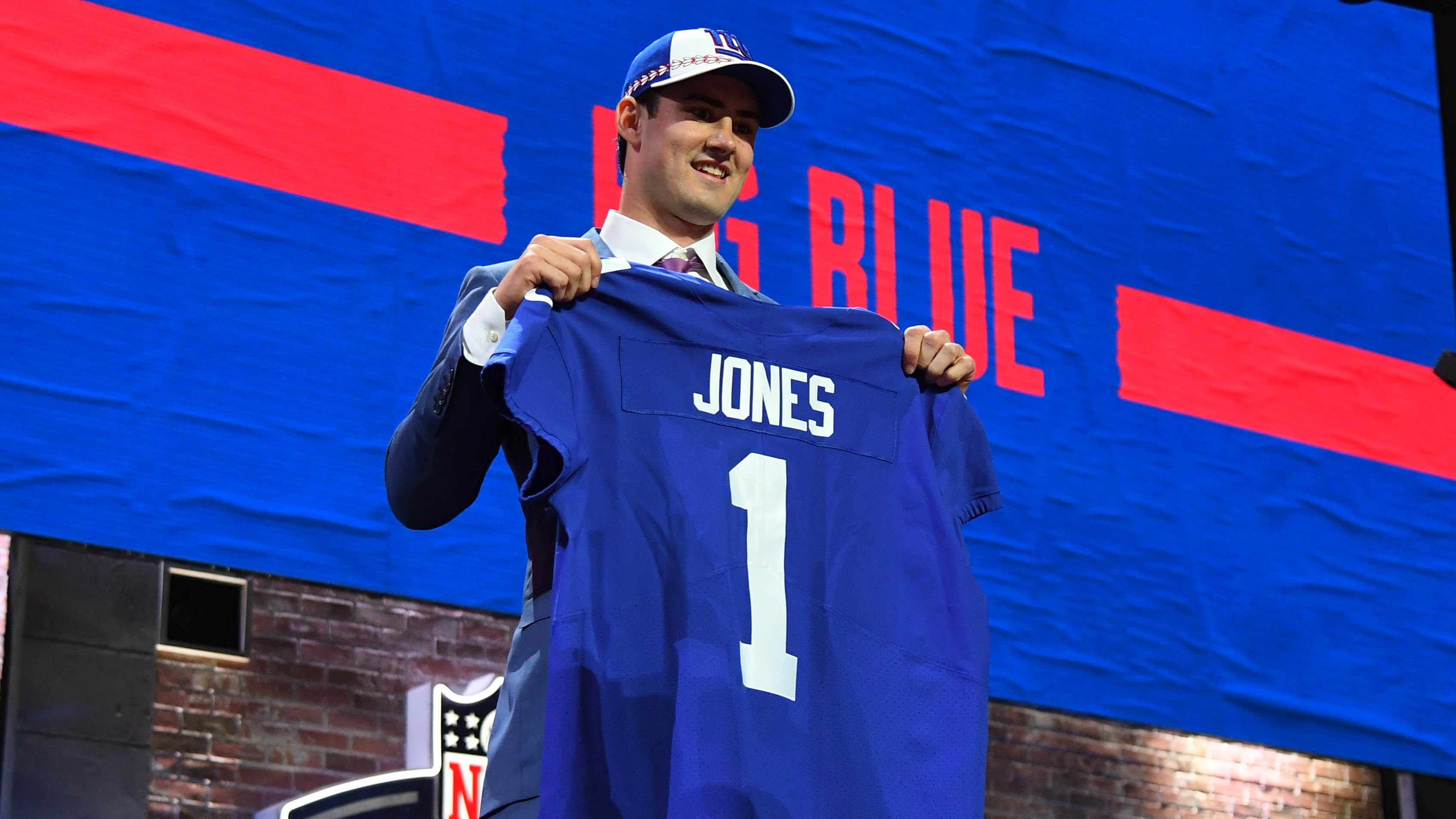 Daniel Jones (Duke) is selected as the number six overall pick to the New York Giants in the first round of the 2019 NFL Draft in Downtown Nashville.