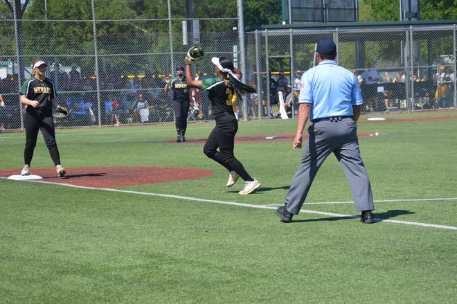 Menard second baseman Adriana Ortiz (3) makes a catch during the Lady Eagles' win over Calvary Friday.